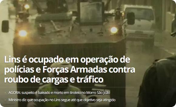 Forças Armadas e polícias fazem megaoperação contra roubo de cargas e ocupam o Complexo do Lins – RJ