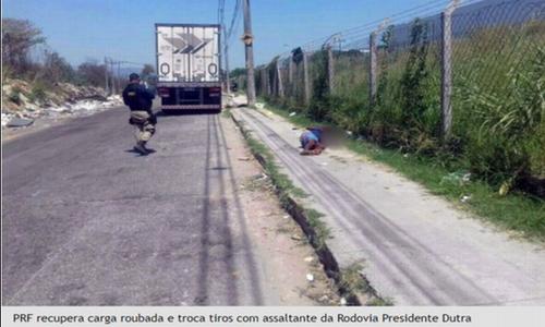 PRF recupera carga roubada e troca tiros com assaltante da Rodovia Presidente Dutra