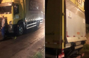 Imagens do caminhão dos Correios recuperado com a carga intacta pelo 35BPM -> PMERJ -> ServireProteger –> ValorizeQuemTeProtege